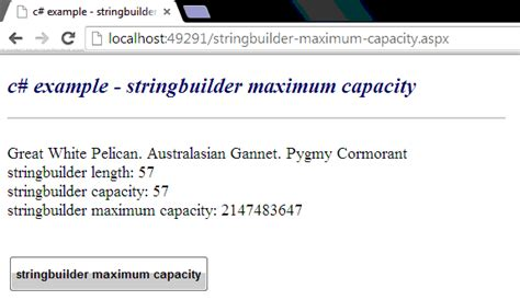 c how to get maximum capacity of a stringbuilder