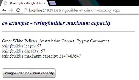 c how to get maximum capacity of a stringbuilder