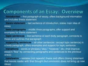 What Is The Thesis Of An Essay by Components Of An Essay Overview