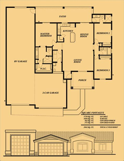 Rv Garage Floor Plans | sunset homes of arizona experienced builder