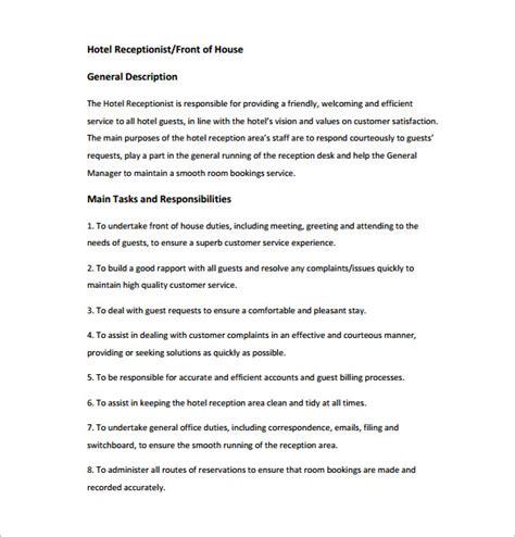 10 Receptionist Job Description Templates Free Sle Exle Format Download Free Hospitality Description Template