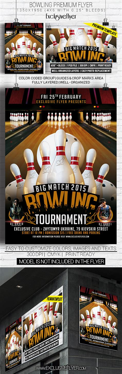 Bowling Tournament Premium Flyer Template On Behance Bowling Event Flyer Template