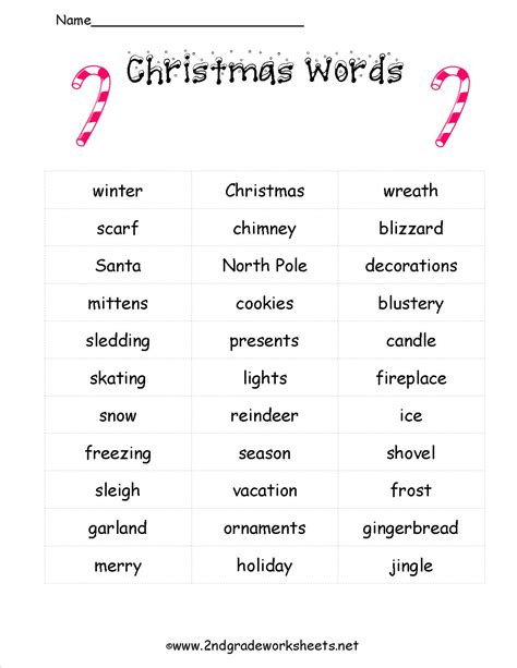 printable christmas spelling list christmas worksheets and printouts
