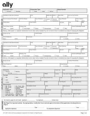 Ally Credit Application Form Pdf Ally Credit Application Fill Printable Fillable Blank Pdffiller