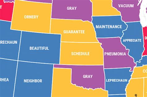 top misspelled words by state map shows the top misspelled words in each state