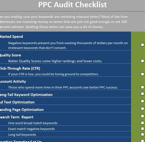 ppc strategy template ppc audit checklist