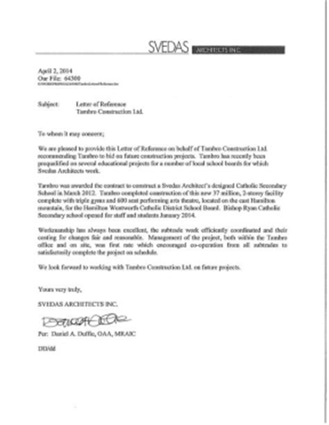 Reference Letter Architect reference letters tambro construction