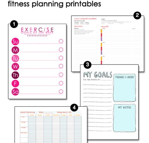 weight loss smart printable fitness planner free printable fitness pages goal exercises and motivation