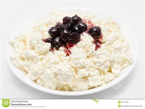 fresh cottage cheese with cherry jam stock photo image