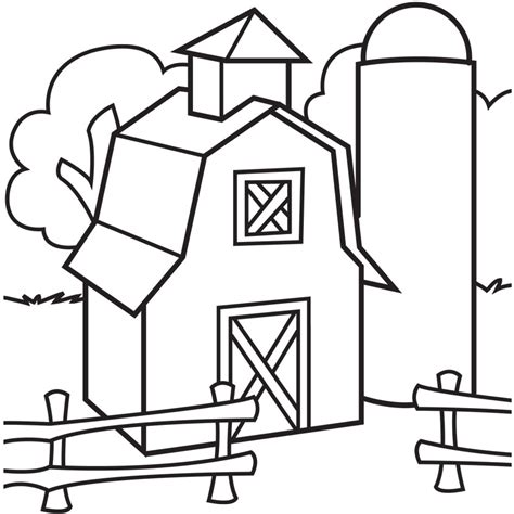 Free Coloring Pages Of Country Barn 18656 Barn Coloring Page