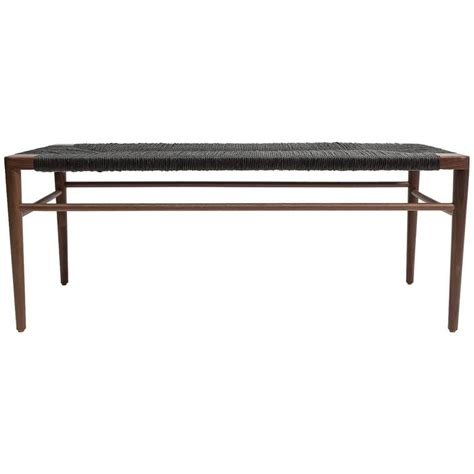 rush bench walnut and black woven rush bench by smilow furniture at