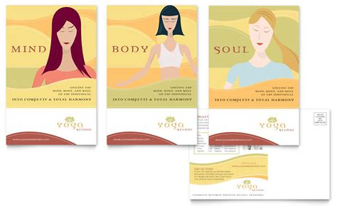 yoga instructor studio postcard template word publisher