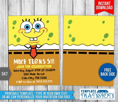 spongebob squarepants birthday invitation 1 by