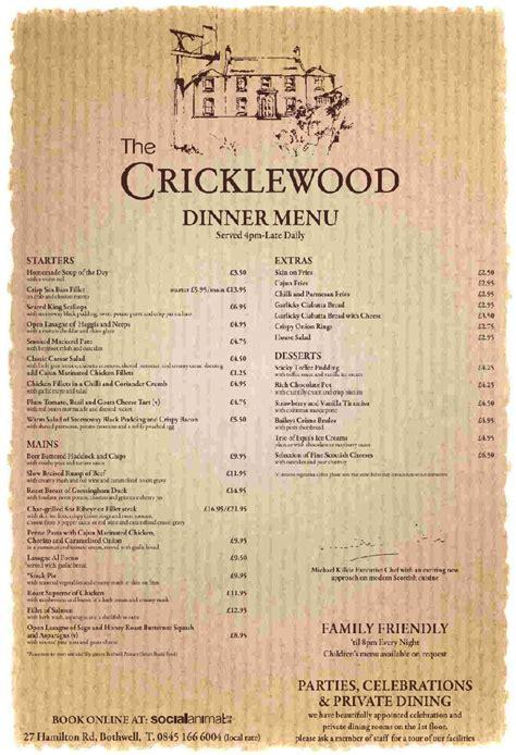 restaurant menu menu for the cricklewood in bothwell international