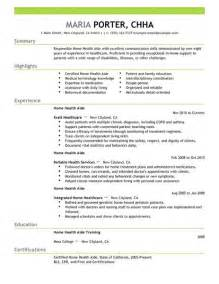 Resume Sles For Health Care Aide Home Health Aide Resume Exles Healthcare Resume Exles Livecareer