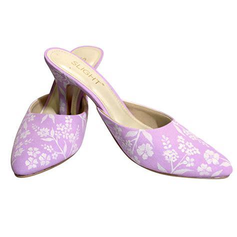 Sepatu High Heels Wanita Pink Salem sandal selop lukis amaryllis pink