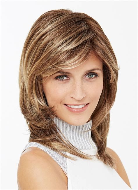 shoulder length straight layered synthetic hair wigs with