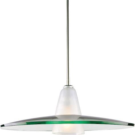 Brushed Nickel Glass Pendant Light Progress Lighting 1 Light Brushed Nickel Pendant Clear Frosted Glass Dining Area Ebay
