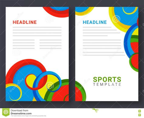 2 page flyer template two page brochure template for sports concept stock