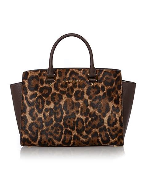 michael kors selma leopard print tote bag house of fraser