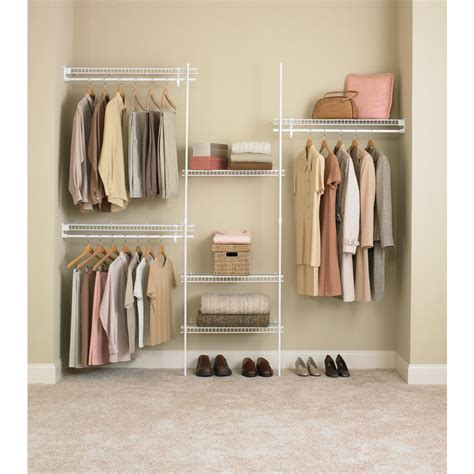 Home Depot Closet Organizer Kits by Closetmaid Superslide 5 Ft To 8 Ft Metal White Closet