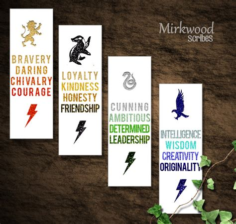 Hogwarts House Virtues Printable Bookmarks DIY Printable