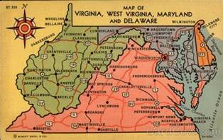 Map Of Virginia And Maryland map of virginia west virginia maryland and delaware maps