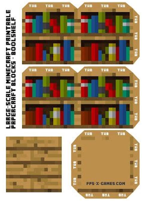 large scale printable minecraft bookshelf print at 150