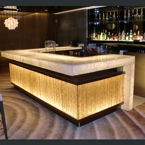 Small Home Bar Counter Sale Modern Design Solid Surface Acrylic Led Effect