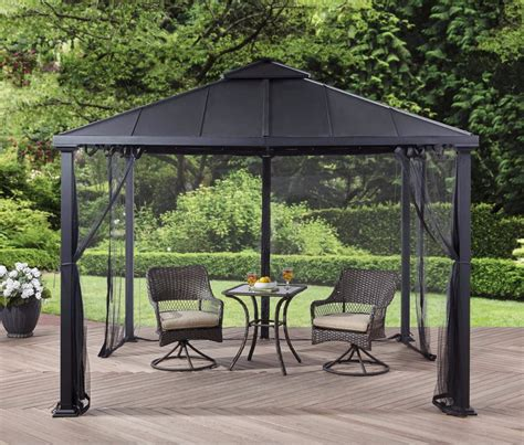 10x10 Aluminum Gazebo Metal Roof Gazebo With Netting Top Pergola Canopy 10