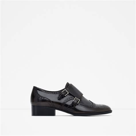 Details Flat Shoes zara flat shoes with brogue detail in brown lyst