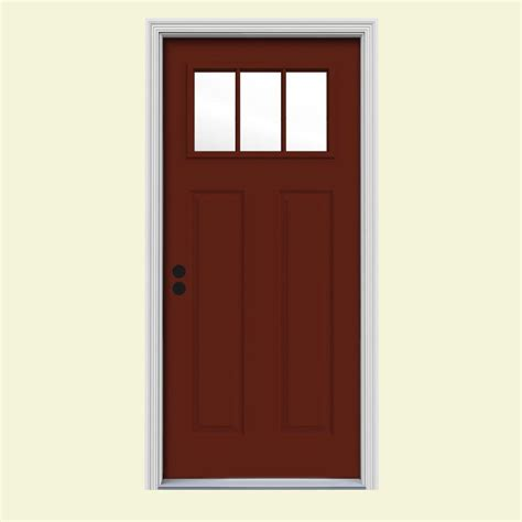Prehung Interior Doors Home Depot jeld wen 32 in x 80 in 3 lite craftsman mesa red w