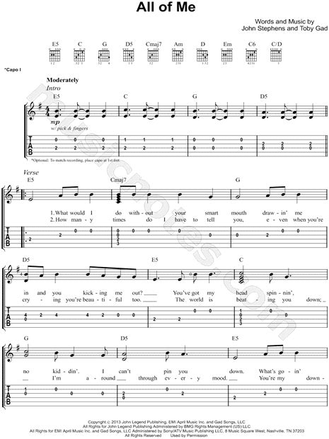 tutorial fingerstyle all of me john legend quot all of me quot guitar tab download print