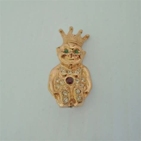 billiken jewelry mystic shriner crowned billiken goldtone brooch pin