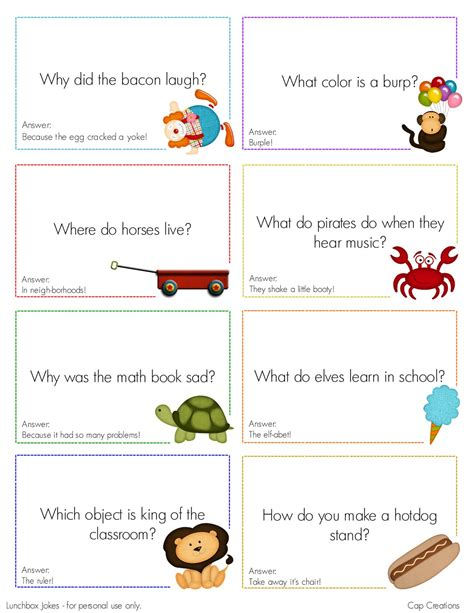 printable funny jokes cap creations free printable lunchbox joke cards