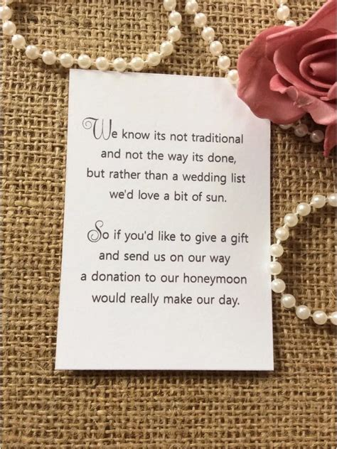 25 /50 WEDDING GIFT MONEY POEM SMALL CARDS ASKING FOR MONEY CASH FOR INVITATIONS   eBay