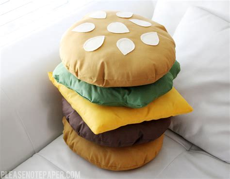 Diy Food Pillows note diy stackable burger pillow