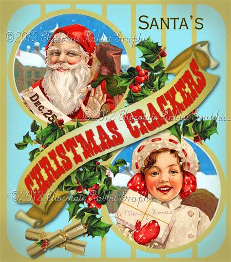 vintage tag printable label christmas crackers digital