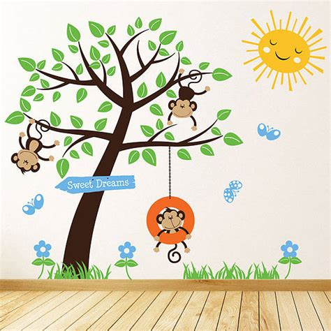 monkey wall stickers children s monkey tree wall stickers by parkins interiors