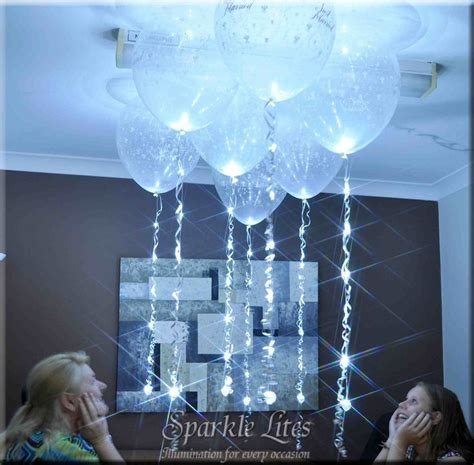 helium balloons with lights inside new white sparkle ribbon attached to 16 quot helium filled