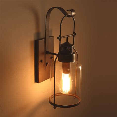 Indoor Lantern Light Fixtures Industrial Loft Rust Metal Lantern Single Wall Sconce With Clear Glass Indoor Sconces Wall