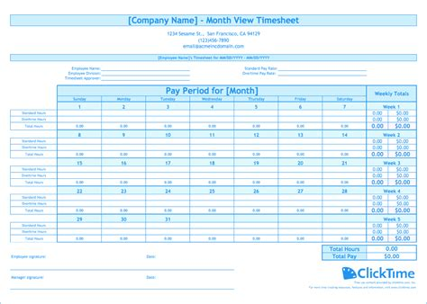 monthly timesheet template clicktime