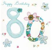 Flowers 80th Birthday Card  Karenza Paperie