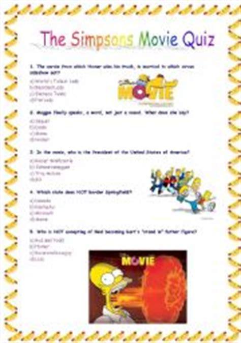 film quiz in english english exercises the simpsons listening