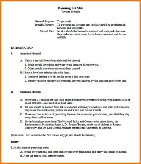 apa outline template letter format business