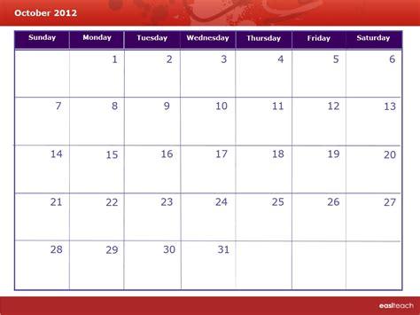 October 2012 Calendar Template Calendar October 2012 Rm Easilearn Us