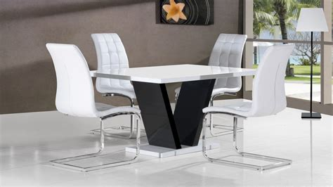 white high gloss dining table 4 chairs black base