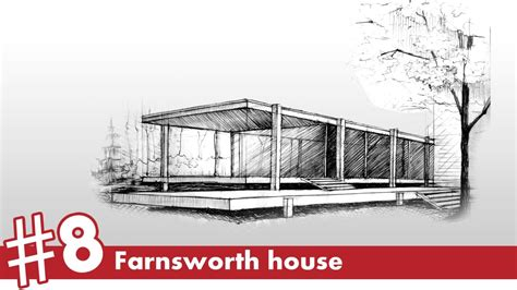 Farnsworth House by Farnsworth House Perspective Drawing 8 Famous