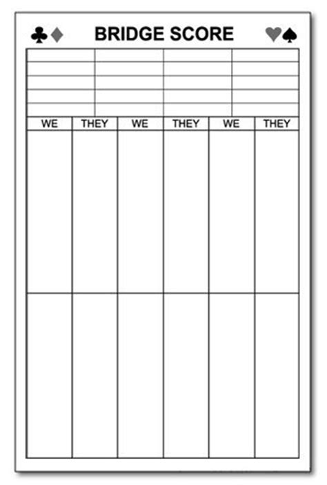 bridge tally template card scores and bridges on