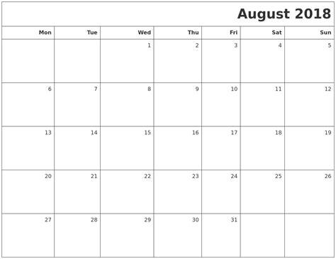 printable calendar august 2018 august 2018 printable blank calendar